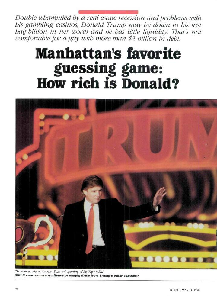 The opening page of Forbes magazine's 1990 expose into Donald Trump's finances
