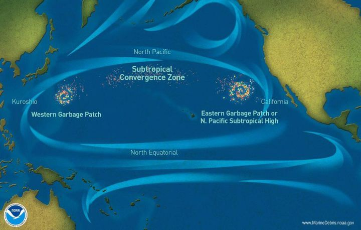 Location of the Great Pacific Garbage Patch and the subtropical convergence zone