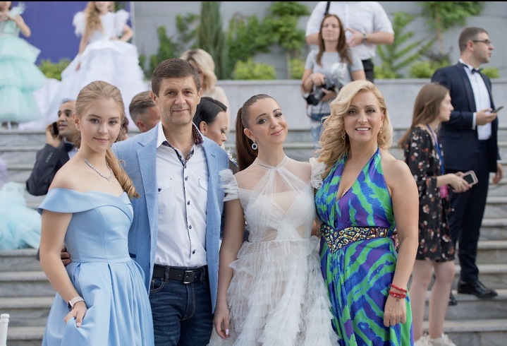 "Anastasiia Bondarchuk with her parents (Nataliya and Sergiy Bondarchuk) and producer Elvira Gavrilova at ""The Future of Ukraine Children"" awarding ceremony"
