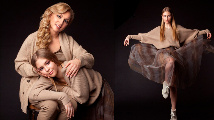 Model Anastasiia Bondarchuk with her mother Nataliya Bondarchuk on the shooting for the cover of the Financoff Magazine