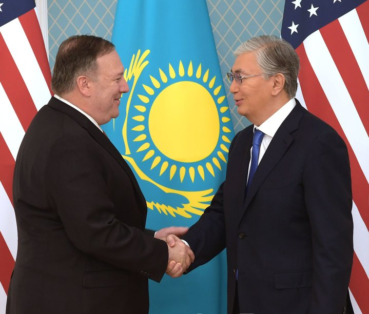Michael Pompeo and Kassym-Jomart Tokayev
